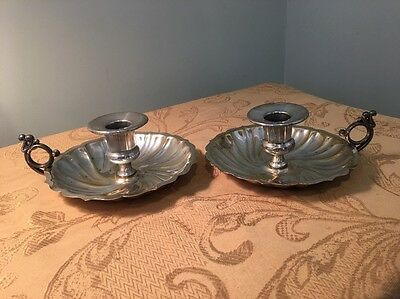 Vintage Sheridan Sterling Silver Plated Candlesticks