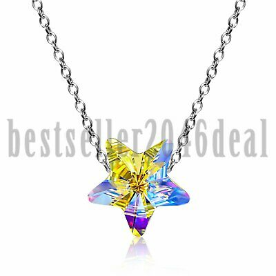 925 Sterling Silver Crystal AB Lucky Star Necklace Made With Swarovski Elements