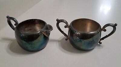 Vintage Wm A Rogers Sugar Bowl And Creamer Set Silverplate Metal