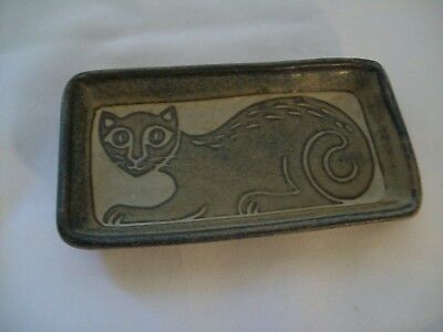Vintage Ceramic Cat Soap Dish or Spoon Rest North Eagle Pottery Signed