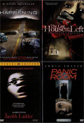 Lot Of 4 Dvds - Panic Room / Last House On Left / The Happening / Jacob's Ladder