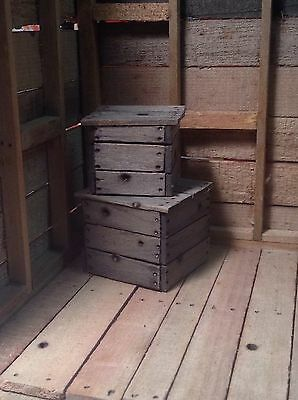 Miniature Rustic Wood Crate 2 Pieces 1:12  Dollhouse  Action Figures Room Box
