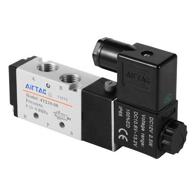 "DC12V 5-Way 2-Position 1/4"" 1/8"" Solenoid Valve Electric Pneumatic Control BI496"