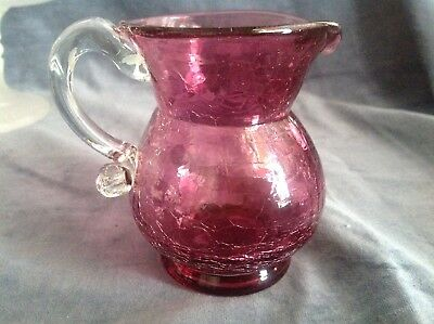 Beautiful Small Hand blown Cranberry glass mini pitcher/creamer w/ clear handle
