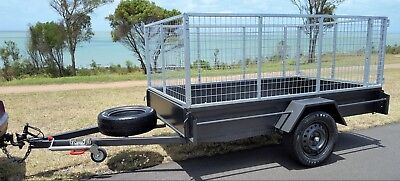 QLD Built BRAND NEW 9x5 Steel High Cage Trailer 6 Months Reg Jockey Spare Heavy