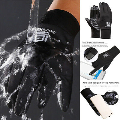 Winter Warm Windproof Waterproof Anti-slip Thermal Touch Screen Gloves Black UK