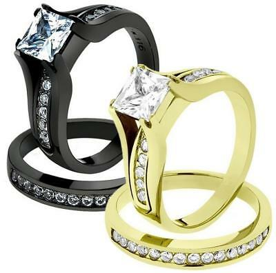 e3466be022 Fashion Women Ring Set Silver Alloy Zircon Crystal Wedding Couple Rings  Jewelry