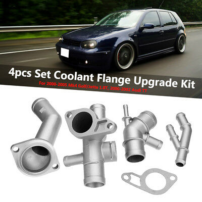 4pcs Aluminum Coolant Hose Flange Upgrade Set Fit VW MK4 Golf Jetta 1.8T Audi TT