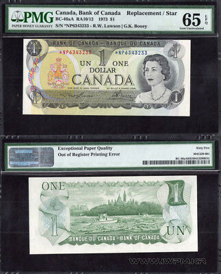 Canada 1 Dollar 1973 P- 85.a  PMG-65 (Replacement, Error)