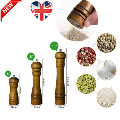 "5"" 8"" 10""  Refillable Wooden Salt and Pepper Mill Spice Herb Grinder Cafe UK TT"