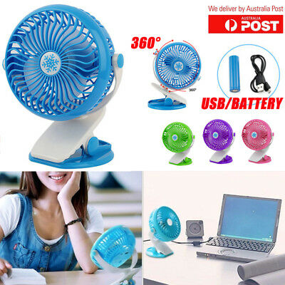 360°Portable Rechargeable Battery Operated Mini Clip On Desk Fan with USB Office