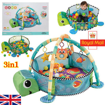Cute Turtle Baby Gym 3 in 1 Activity Play Floor Mat Ball Pit Toys Round Playmat