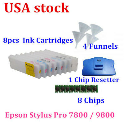 USA!! 8pcs Combo Epson Stylus Pro 7800 / 9800 Refill Ink Cartridges with Funnels