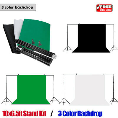 9FTX6FT Green Black White Backdrop Stand Kit Photography Studio Photo Background