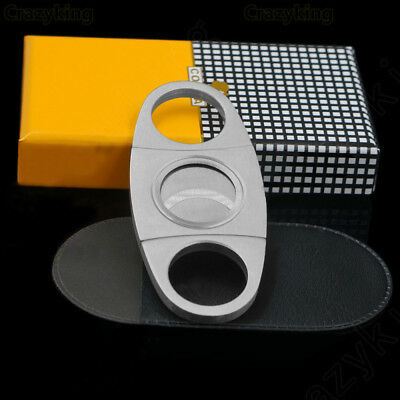 Silver Stainless Steel Double Blades Cigar Cutter/Guillotine Cigar Tool AHU