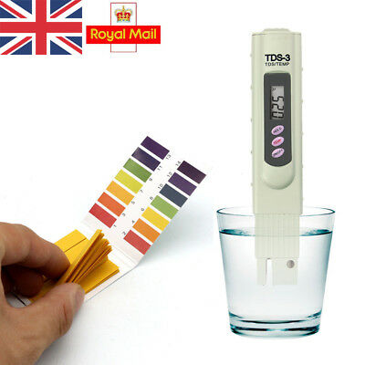 UK Digital TDS-3 Meter Test +PH Tester Paper Water Quality Purity Test Pen Stick