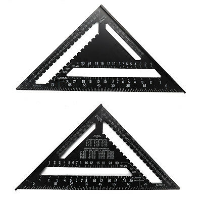 Black 12'' Aluminum Alloy Speed Square Quick Roofing Rafter Triangle Ruler Guide