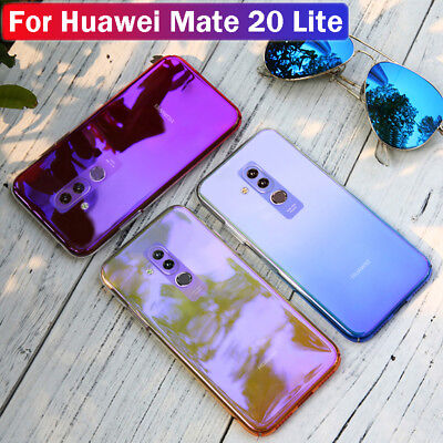 For Huawei Mate 20 Lite Blue Ray Gradient Hard PC Case Cover + Tempered Glass