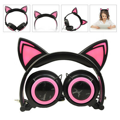 Foldable Wired Cat Over Ear Headphone Glowing Light Girls Kids Cosplay Headset