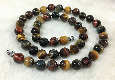 Natural 8mm Multicolor Tiger's Eye Gemstone Bead Round Necklace 18'' AAA