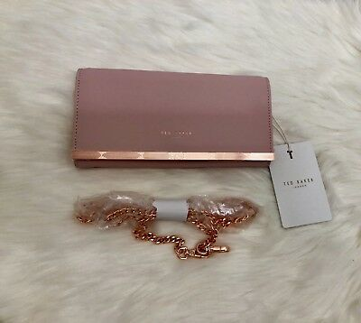 8fdf5a4ca2 New Ted Baker London - Natalie Metal Bar Leather Matinee Wallet W/ Chain  Ret$159