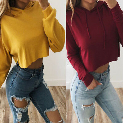 US Ladies Crop Hoodie Women Pull Over Plain Casual Short Hooded Sweat Shirt Top