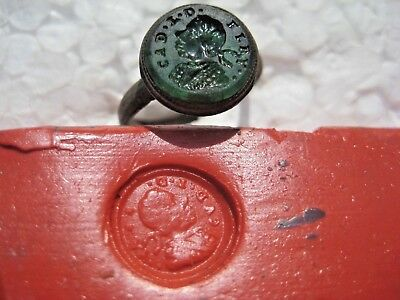 ANCIENT Medieval Bronze Green glass stones Gemma Ring 16-17 century AD