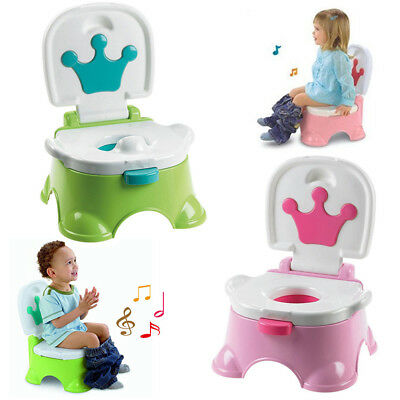 3 in 1 Baby Toilet Trainer Child Toddler Kid Music Potty Training Seat Fun Chair