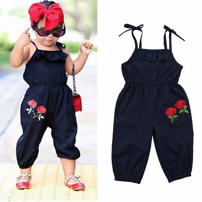 US Toddler Kids Baby Girls Strap Flower Romper Jumpsuit Playsuit Outfit 1-6Y