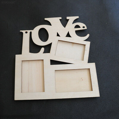 7F7A New Lovely Hollow Love Wooden Photo Picture Frame Rahmen White Base Art DIY