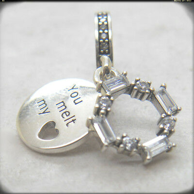 bea6a2de3 Authentic 925 Sterling Silver Ice Carving You Melt My Heart Dangle CZ Charm  Bead