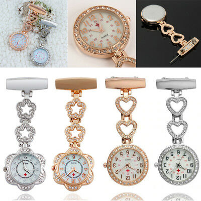 Diamond Nurse Watch Alloy Doctor Paramedic Medical Brooch Fob Watch With Battery