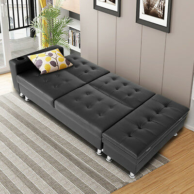 Faux Leather Ottoman Sofa Bed Settee with Storage & Cup Holder Recliner Home HOT
