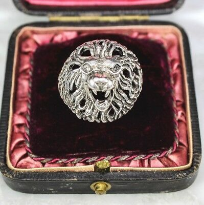 Superb Vintage Sterling Silver Roaring Lion Ring Leo Huge Figural Ring 12.25