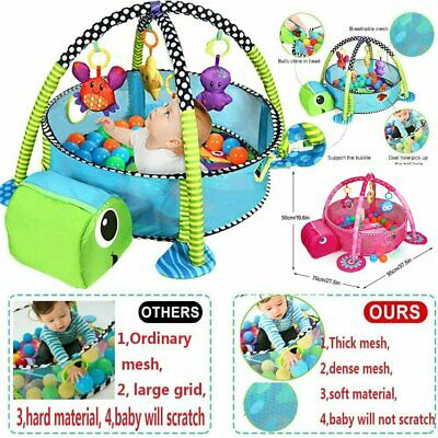 Turtle/Lion Baby Gym 3 in 1 Activity Play Floor Mat Ball Pit&Toys Babies Playmat