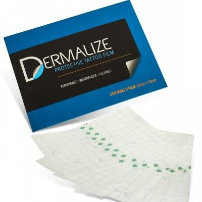 Dermalize Pack of 5 Pre-Cut Pro Protective Tattoo Film 15cm x 10cm