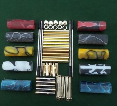 PRE BORED ACRYLIC PEN BLANKS SLIMLINE 5 SETS 24CT GOLD PLATED PEN KITS 7mm
