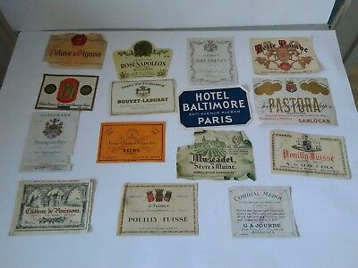 15 Vintage French Wine Labels, believed to be original