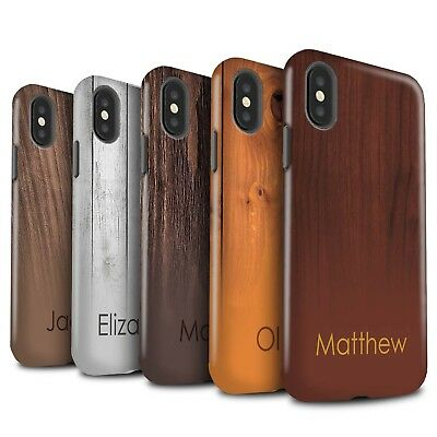 Personalised Custom Wood Grain Effect Gloss Tough Case for Apple iPhone X/10
