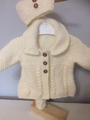 da43fa05d HAND KNITTED BABY Girls ARAN Cardigan  Coat And Hat Set 3 -6 Months ...