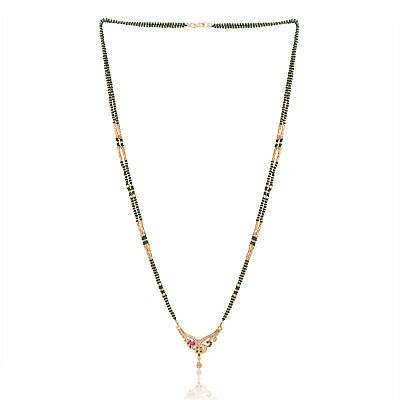 23b4b77ca7fc8 INDIAN 22K COPPER 22K Gold Plated Handcrafted 26-inch Beads Mangalsutra  Necklace