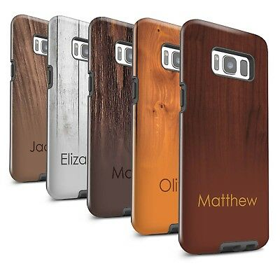 Personalised Wood Grain Effect Gloss Tough Case for Samsung Galaxy S8 Plus/G955