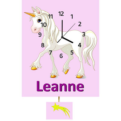 Personalised Unicorn Clock, Wall Clock, Pendulum Clock, Childrens Clock, Gifts