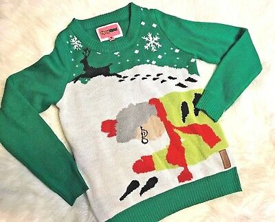 Tipsy Elves Ugly Christmas Sweater GRANDMA RAN OVER REINDEER Womens Size Small