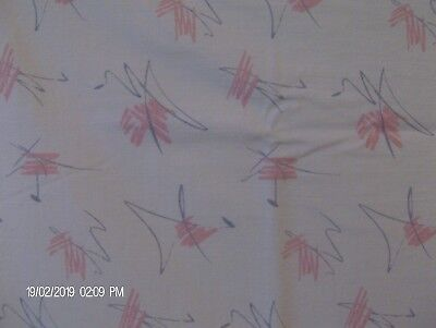 Vintage Cotton Fabric 1950s Atomic Space Age Modernism Retro Pink Gray