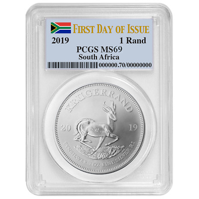 2019 South Africa Silver Krugerrand 1oz PCGS MS69 FDOI Flag Label
