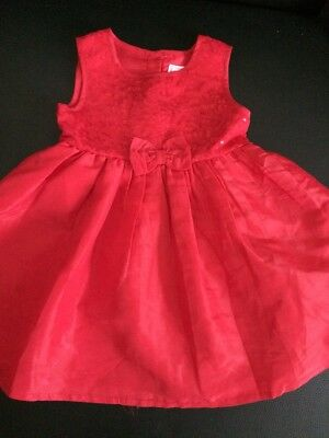 Bluezoo Debenhams Baby Girls Christmas Dress 18-24 Months Red, With A Big Bow
