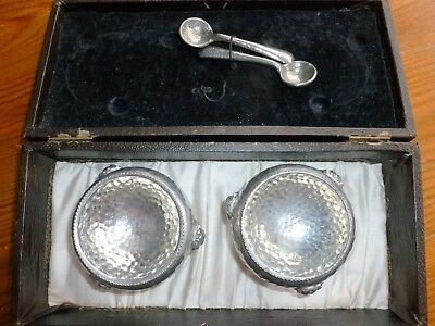 Antique Pair Sheffield Pewter Salt Bowls Lion Head Claw Feet with Spoons