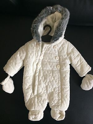 Bhs Beautiful Newborn Overall Snowsuit Windsuit All In One With Faux Fur Pramsui