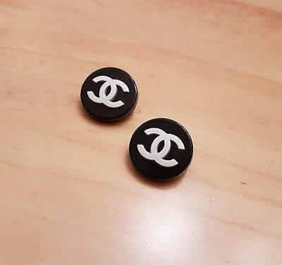 8 pieces Chanel Style Metal Buttons Black and White Size 22 mm Valentine's Gift.